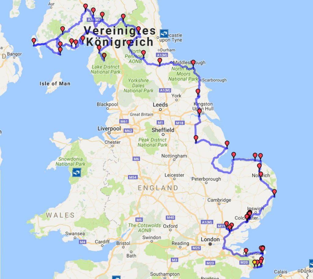 England-Motorradtour-Karte