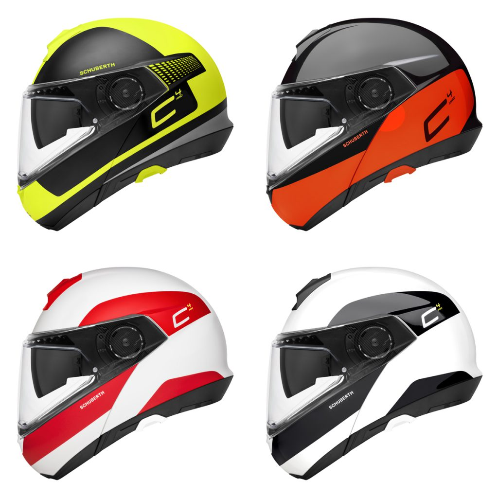 Der Schuberth C4 Pro Klapphelm in 14 Designs.
