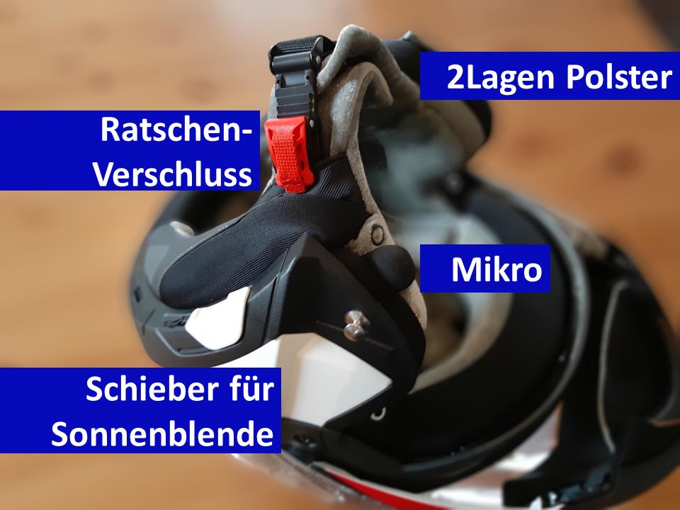 Der Schuberth C4Pro Klapphelm überzeugt im Test durch seinen vielen Details.