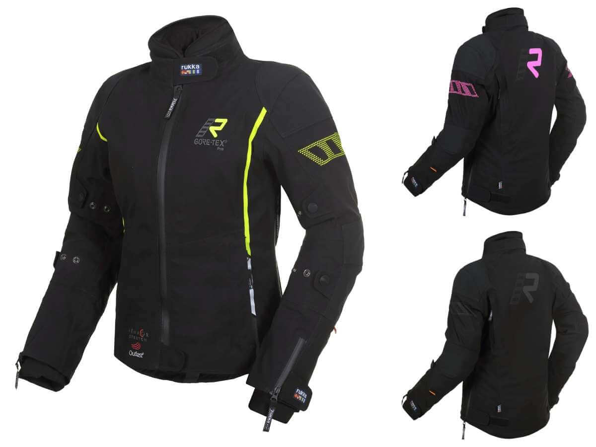 Rukka Spektrai Motorradkombi Damen Farbvarianten gelb, pink und schwarz. Motorrad-Schutzkleidung.