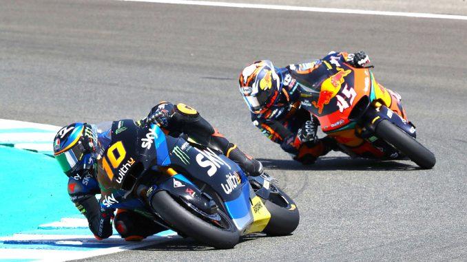 Luca Marini Nr10 auf Triumph liegt bei der Moto2 in Jerez vorn